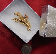Jockey Horse Ride Race Polo 14k Gold Pendant Vintage 3d Charm Signed Collectible