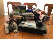 Sony Ps2 Lot Bundle-two Controllers, 1 Joystick, 3 Memory Cards, 20 Games + More