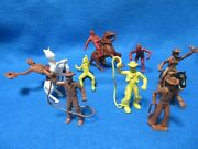 Marx Set Of 8 Roy Rogers Ranch Cowboys + 3 60mm Horses With Saddles + 1 Rein