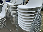 8x Herman Miller Charles Eames Plastic Shell Chairs White And 8x Vintage H-bases