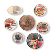 Lot Of 7 Machinery Power Tractor Engine Show Pinback Buttons