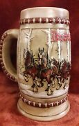 Vintage 1981 Budweiser Holiday Beer Stein Clydesdales Snow Covered Birch Trees