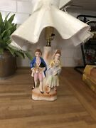 Vintage Victorian Lamp Corting Couple