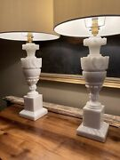 Great Pair Of Large Mid Century Alabster Marble Table Lamps Refurbished