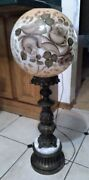 Vintage Brass Victorian Banquet Parlor Lamp Hand Painted Ball Globe Shade