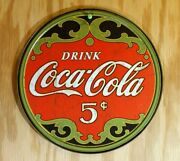 Coca Cola 5 Cent Tin Metal Round Sign Soda Pop Bottle Classic Logo Coke Green Re