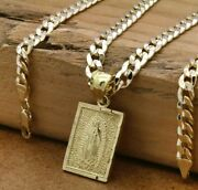 Mens 18k Gold Plated Brass Guadalupe Pendant 6mm 24 Cuban Chainh
