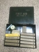 Lot 15 Vtg Bell Telephone Co System First Aid Kit C Green Metal Box W/contents