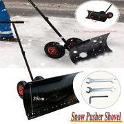 Hand Snow Shovel Thrower Plow Removal Pusher With Wheels Path Clean 29x13 Inch