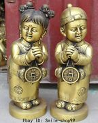 17chinese Pure Bronze Wealth Mobey Fishes Stand Girl Boy Tongzi Kid Statue Pair