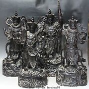 22chinese Wood Stand 4 Great Heavenly Kings Warrior Full Set Dragon Lion Statue