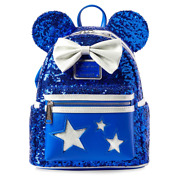 Loungefly Mickey Mouse Ears Blue Sequin With Stars Mini Backpack