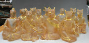 Old Crystal Gilt 12 Zodiac Year Animal Dragon Horse Cattle Rooster Statue Set