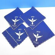 Set Of 4 Vintage Wwii 1940s Era Usaf Air Force Wife Embroidered Blue Hanky