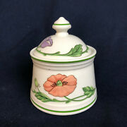 Villeroy And Boch Amapola Sugar Bowl And Lid - 1748 Blue Orange Poppies Flowers