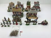 Lot 23 Pieces 90s Liberty Falls Americana Village Houses Figures Flag Ships Free