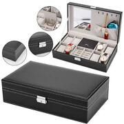 Jewelry Box 8 Slots Watch Organizer Storage Case With Lock And Mirror For Men Wo