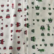Crown Beefeater Soldier Fabric Material Vintage Polished Cotton 2 Yard Red Green