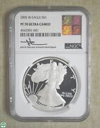 2005-w Silver Eagle- Ngc Pf 70 Ultra Cameo- Mercanti Authentic Hand Signed Label