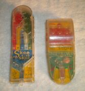 Vintage Marx Toy Skee Skill And Under-n-over Mini Handheld Pin Ball Games 1950's
