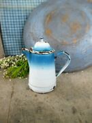 Antique Childand039s French Toy Robins Egg Flow Blue Enamelware Teapot