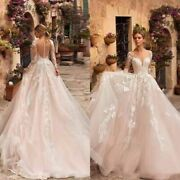 Bridal Wedding Beach Dress Sexy Illusion A Line Long Sleeve Lace Appliques Tulle
