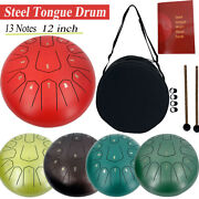 12and039and039 Steel Tongue Drum 13 Note Hand Pan Drum Tank Hang Drum With Drumsticks Bag