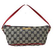Authentic Gg Pattern Hand Bag Canvas Leather Black Red Italy 61mh029