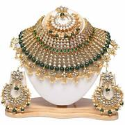 Traditional Kundan Pearls Green Colour Bridal Necklace Set For Women A999
