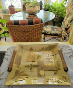 1960and039s Mid Century Square Glass Tray Gold Leaves Wood Handles Hollywood Regency