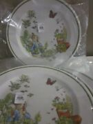 S/4 Pottery Barn Kids Peter Rabbit Easter Garden Dinner Plates / Chargers Nwt