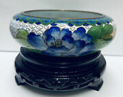 Chinese Cloisonne Jingfa Decorative Enameled Floral Bowl With Stand