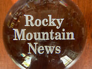 Rocky Mountain News Glass Dome Paperweight Rare Collectible Colorado History Gem
