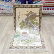 Yilong 2and039x4 The Great Wall Design Tapestry Antique Handmade Carpet Silk Rug 007h