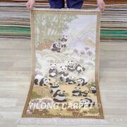 Yilong 2and039x4and039 Chinese Panda Tapestry High Density Handcraft Carpet Silk Rug 011h