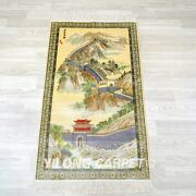 Yilong 2and039x4and039 The Great Wall Tapestry 500lines Hand Knotted Carpet Silk Rug 012h