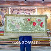 Yilong 2and039x4and039 Peony Pattern Tapestry High Density Handcraft Carpet Silk Rug 076h