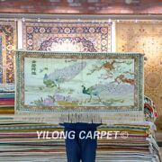 Yilong 2and039x4and039 Peacock Tapestry High Density Hand Knotted Carpet Silk Rugs 113h