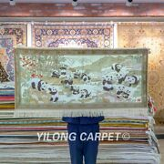 Yilong 2and039x4and039 Panda Tapestry High Density House Handwoven Carpet Silk Rug 115h