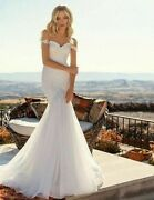 Country Bridal Wedding Dress Boho Mermaid Off The Shoulder Appliques Laces Gowns