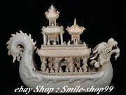 23 Old China White Porcelain People Person Fengshui Dragon Dragons Boat Statue