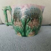 Beautiful Etruscan Majolica Griffen Large Pitcher Shell And Seaweed Pattern
