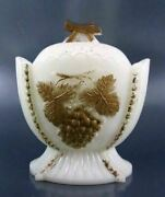 Westmoreland Grape And Cherry Milk Glass Sugar Bowl And Lid With Gold Decoration