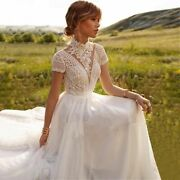 Lace Tulle Wedding Dress High Neck Cap Sleeves A-line Bohemian Bridal Gowns Wear