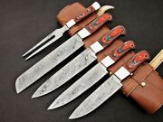 Custom Made Damascus Steel Kitchen Knife 5pcs Chef Set Bbq With Leather Sheath
