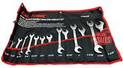New 14pc Angle Head Wrench Combination Sae Open End Set Cr-v Heavy Duty