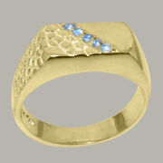 18ct Yellow Gold Natural Blue Topaz Mens Band Ring - Sizes N To Z