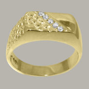 18ct Yellow Gold Natural Diamond Mens Band Ring - Sizes N To Z