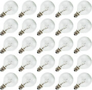 Clear Globe G40 Replacement Bulbs For String Lights - 5w 120v Fit E12 C7 | 25 Pk