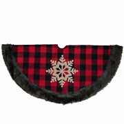 Northlight 48-inch Red And Black Christmas Tree Skirt With Burlap Snowflake